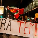 Demonstrators protest against Temer in Sao Paulo, Brazil, on May 17.