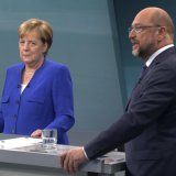 Chancellor Angela Merkel (L) and Martin Schulz faced off in a debate in Berlin on September 3, three weeks before  the German parliamentary elections.