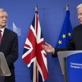 EU Chief Brexit Negotiator Michel Barnier(R), and British Secretary of State David Davis make statements as they arrive at EU headquarters in Brussels on Monday, June 19, 2017