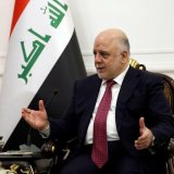 Iraqi Prime Minister Haider al-Abadi, whose domestic prestige has been sharply boosted by the return of territories disputed with the Kurds to federal control, meets US Secretary of State (not pictured) in Baghdad, on October 23.