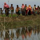 Displaced Rohingya refugees from Rakhine state carry their belongings near  the border between Bangladesh and Myanmar.