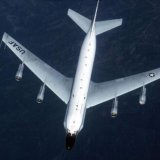 The US RC-135 reconnaissance plane is roughly the size of a civilian commercial aircraft.