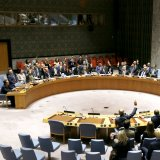 The United Nations Security Council votes to pass a new sanctions resolution against North Korea during a meeting at UN headquarters on Sept. 11