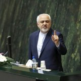 Mohammad Javad Zarif addresses a parliamentary session on Wednesday to gain the vote of confidence to serve another four years as Iran's foreign minister.