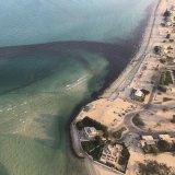 An oil spill near Kuwait's Ras al-Zour in Persian Gulf waters.