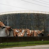 A battered oil processing facility in Texas