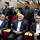 From left :Valiollah Seif, Mohammad Javad Zarif and Ali Tayyebnia at FINEX 2017 in Tehran on April 15.