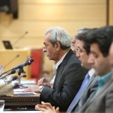 Gholamhossein Shafei addresses a meeting at ICCIMA's headquarters in Tehran on Jan. 14. (Photo: Bahareh Taghiabadi)