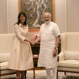 Indian Prime Minister Narendra Modi (R) shakes hands with US Ambassador to the United Nations Nikki Haley  in New Delhi on June 27.