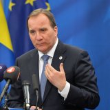 Swedish PM Stefan Lofven in a press conference in Stockholm.