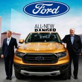 Bill Ford (L) and Jim Hackett at the Detroit auto show, Jan. 14