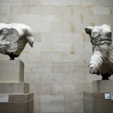 The Parthenon Marbles, a collection of stone objects, inscriptions and sculptures, in the British Museum in London.