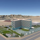 A 3D model of Pardis Hotel, designed by Hariri sisters