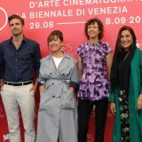 Orizzonti jury members attend the jury photocall at Sala Casino in Venice on August 29. From left: Michael Almereyda, Mohamed Hefzy, Andrea Pallaoro, Athina Tsangari, Alison Maclean and Fatemeh Motamed-Aria