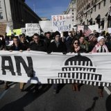 Trump's initial travel ban led to widespread protests in the US.