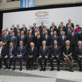 G20 Finance Ministers and Central Bank Governors pose for a family photo on the sidelines of the 2017 Spring Meetings of the World Bank  and IMF at IMF Headquarters in Washington, DC, April 21.