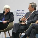 (From L) Janet Yellen, Mario Draghi and  Mark Carney at the event in Frankfurt, Nov. 14.