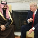 US President Donald Trump (R) and MBS in Washington on March 14.