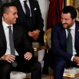 Luigi Di Maio (L) and Interior Minister Matteo Salvini after the sworn-in ceremony at the Quirinal Palace in Rome on June 1.