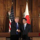 Donald Trump (L) and Shinzo Abe at the Akasaka Palace, Nov. 6, in Tokyo.