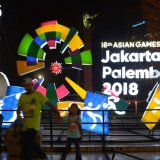 The emblem of the games installed in the streets of Jakarta