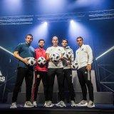 From left: Alessandro Del Piero, Xabi Alonso, Zinedine Zidane, Kaka and Lukas Podolski with the new ball at the ceremony.