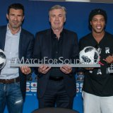 From left: Luís Figo, Carlo Ancelotti, Ronaldinho and Christian Karembeu