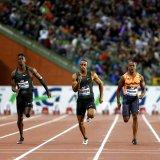 Christian Coleman beat Reece Prescott, Ronnie Baker  and Akani Simbine to win the men's 100m.