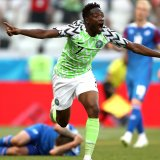 Ahmed Musa of Nigeria celebrates after scoring against Iceland.