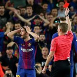 Barcelona's Sergi Roberto was shown a straight red card by referee Alejandro Hernandez in the first-half stoppage time.