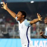 Rhian Brewster (No. 9) scored his second straight hat-trick in England's 3-1 victory over Brazil.