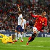 Rodrigo Moreno celebrates scoring Spain's second  goal at Wembley.