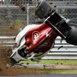 Sauber's Marcus Ericsson crashes during practice  for the Italian Grand Prix at Monza.
