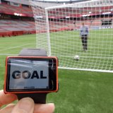 The technology alerts the referee when ball  passes the goal line.