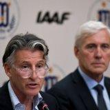 President of the IAAF Sebastian Coe (L) speaks next to the head of the IAAF's Russian taskforce team Rune Andersen.