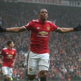 Anthony Martial celebrates after the goal.