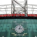 The clock on the wall of Old Trafford set to the time of incident.