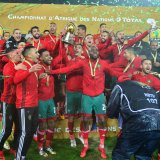 Moroccan players celebrate their victory.
