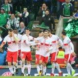 Switzerland team celebrate their win over Northern Ireland.