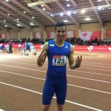Hassan Taftian after winning a gold medal at the 28th Asian Indoor Athletics Games in Tehran.