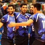 The team celebrates a point against Bulgaria.
