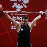 Sohrab Moradi lifting the weight