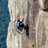 Lai Chi-wai climbs the Lion  Rock in Hong Kong.