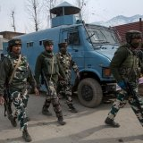 Indian soldiers in Kashmir are seen after a gun battle with militants on Tuesday.