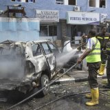 The wreck of the car used in a bombing in Mogadishu