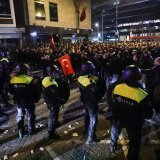 Protesters clashed with the police in Rotterdam, the Netherlands, on Feb. 11.