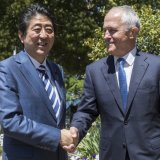 Japanese Prime Minister Shinzo Abe (L) and Australian Prime Minister Malcom Turnbull meet in Sydney on Jan. 14.