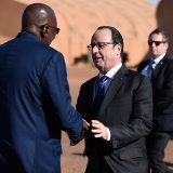 Francois Hollande (R) and Modibo Keita meet on Jan. 13.