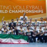 The national volleyball team celebrates the victory.