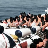 Migrants are rescued by staff members of the MV Aquarius in the central Mediterranean Sea on June 10.